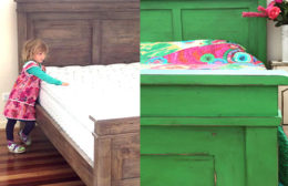 bed before and after being painted with Annie Sloan paints