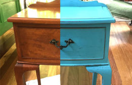 Re painted bed side table using Annie Sloan blue